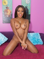Cute ebony babe stripping and showing off her tight body
