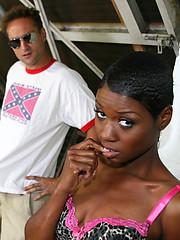 Black whore covered in cum from 10 white guys
