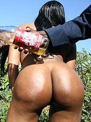 Big booty black girls have nasty threesome!